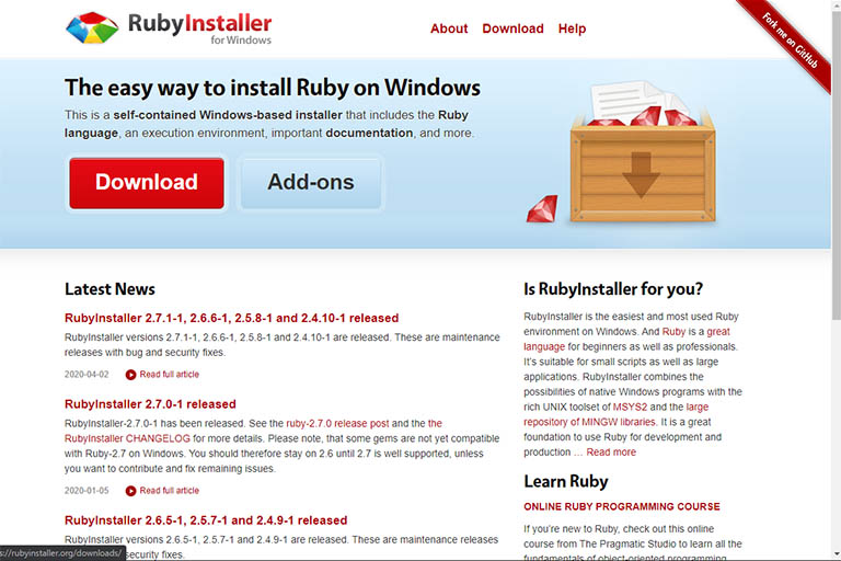 RubyInstaller home page