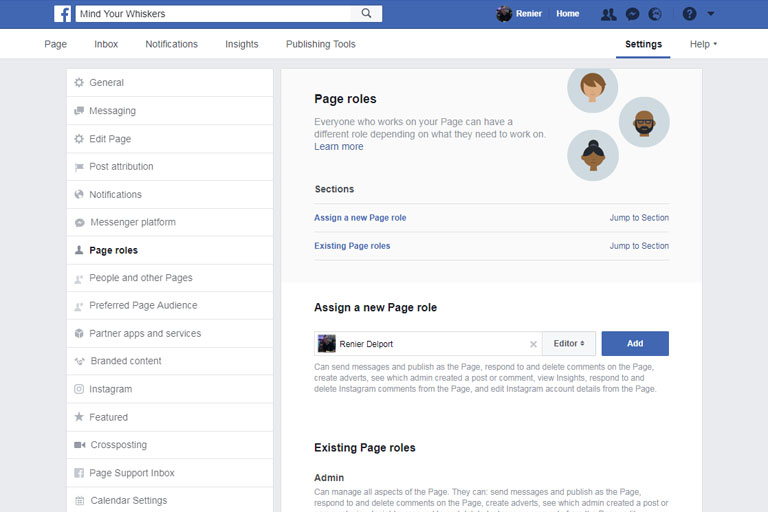 Adding team members to Facebook business page role editor