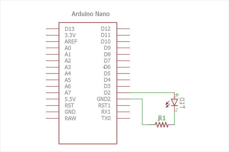 Arduino Nano LED scematic