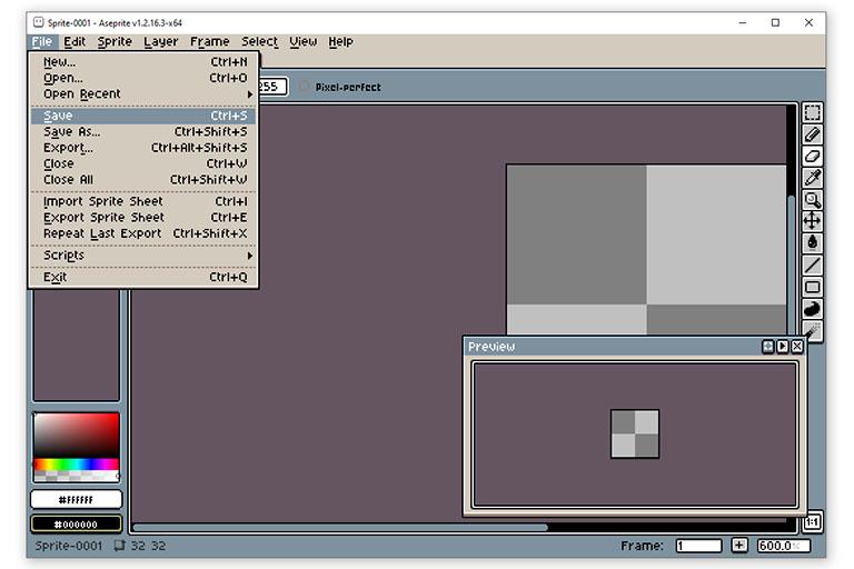 Aseprite File menu example