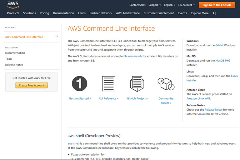 AWS Command Line Interface (AWS CLI) download