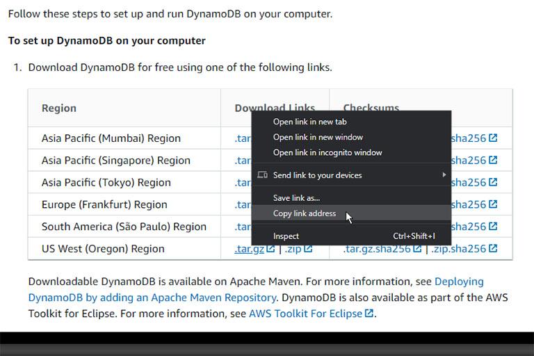 AWS DynamoDB download link copy