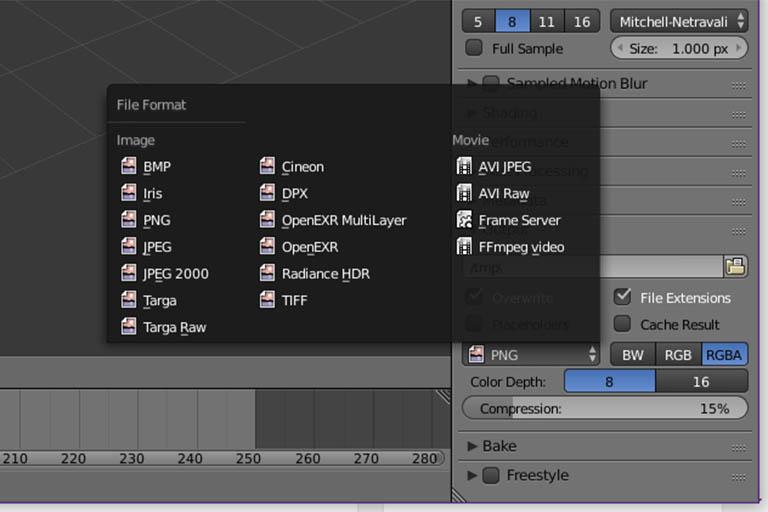 Blender animation render output file