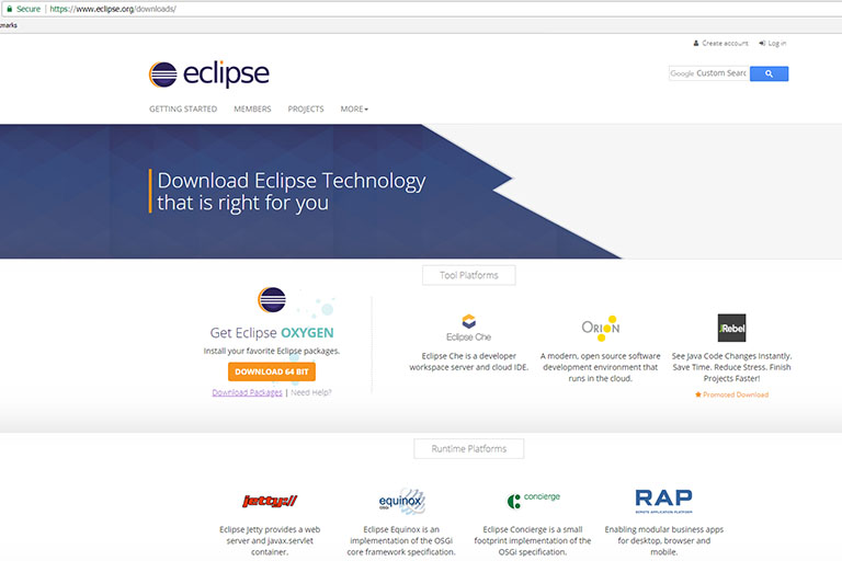 Eclipse Oxygen download page