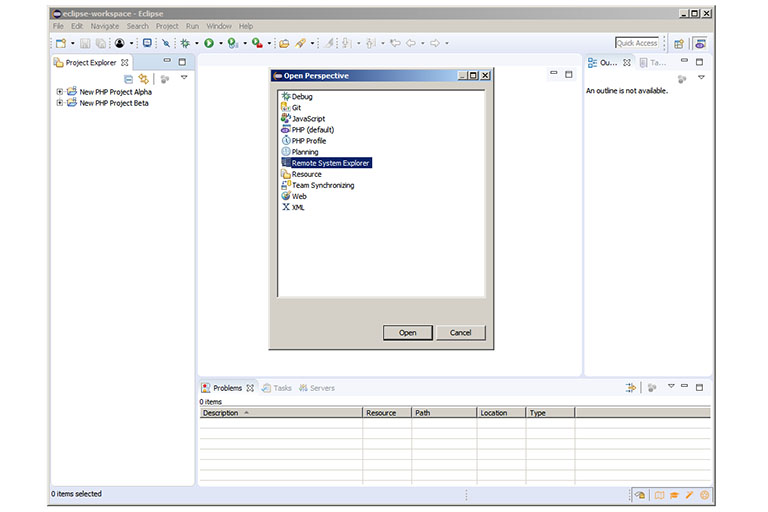 Eclipse Remote System Explorer view activation