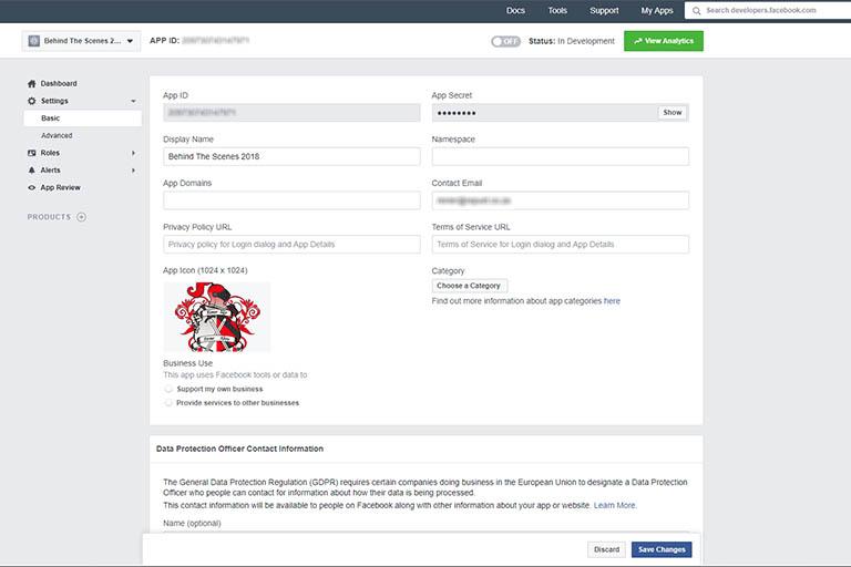 Facebook Apps dashboard