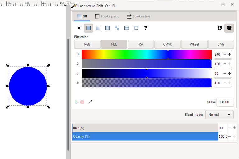 Inkscape colour picker for hue