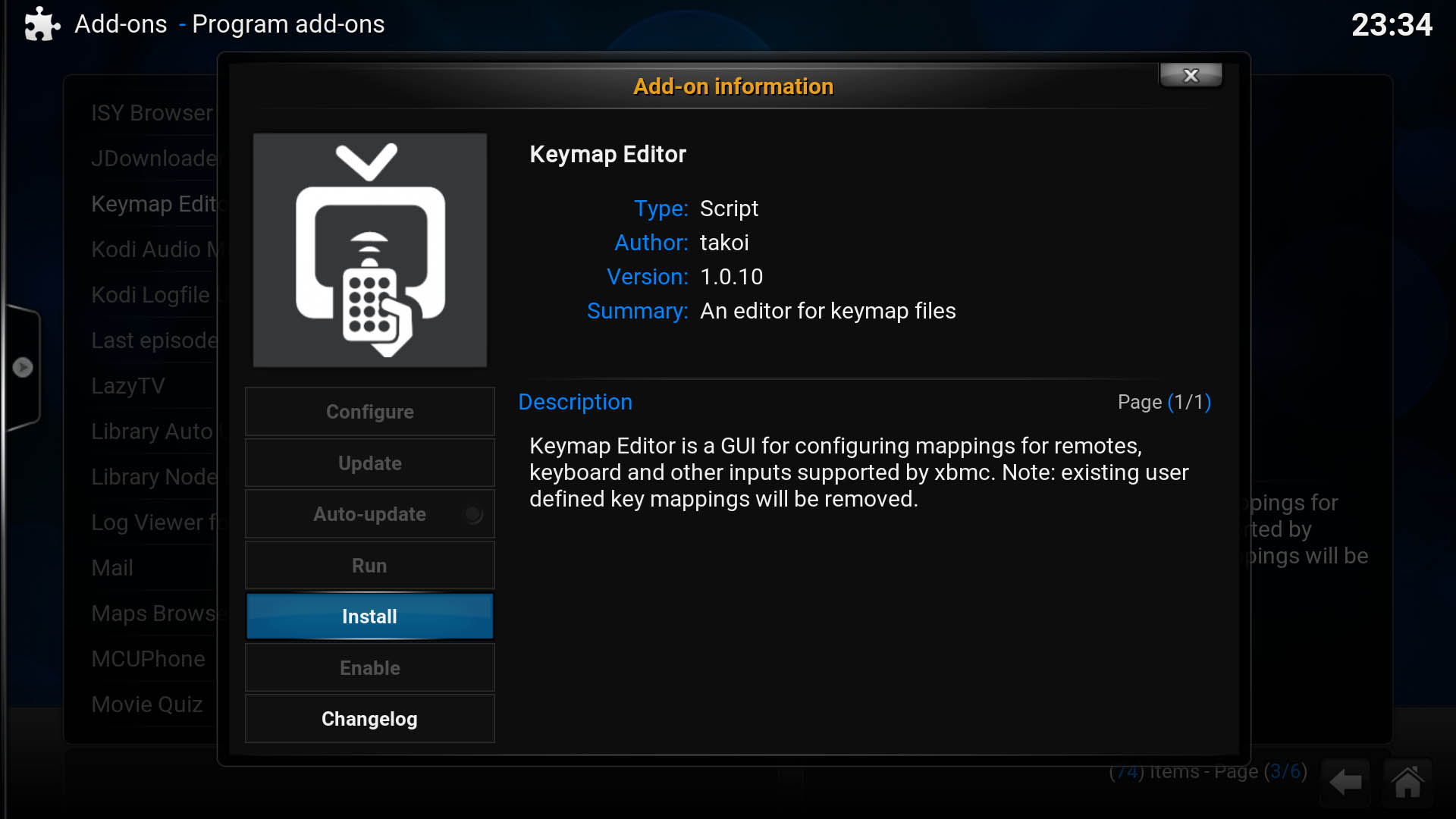 Kodi Keymap Editor Add-on