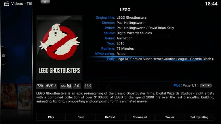 Kodi movie information screen