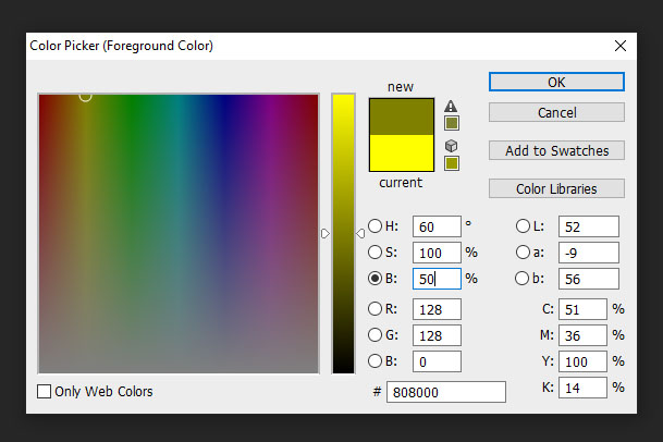 Photoshop colour picker for brightness