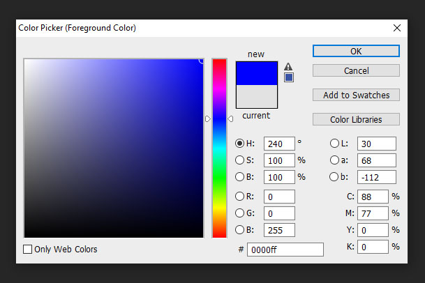 Photoshop colour picker for hue