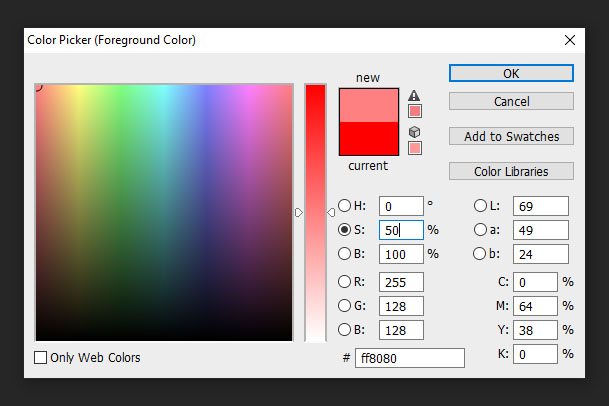 Photoshop colour picker for saturation