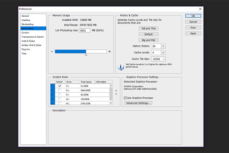 Default scratch disk properties for Adobe Photoshop CS6