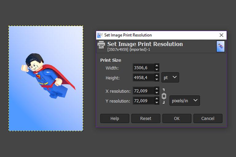 Print settings GIMP