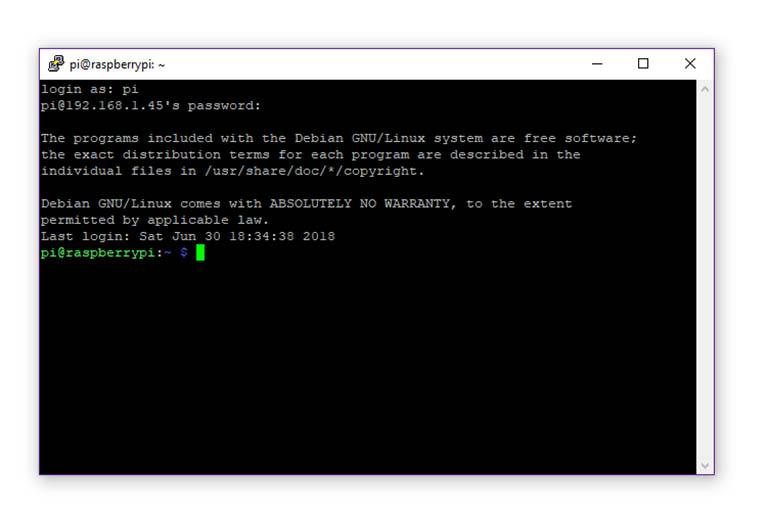 PuTTY SSH terminal window