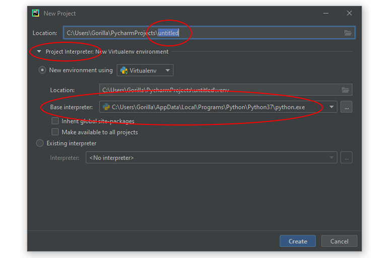 Creating a new Python project in PyCharm