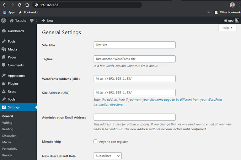 Raspberry Pi WordPress general settings