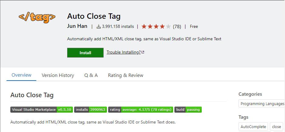 VS Code Auto Close Tag extension