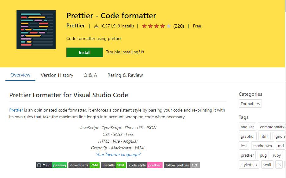 Visual Studio Code Prettier extension