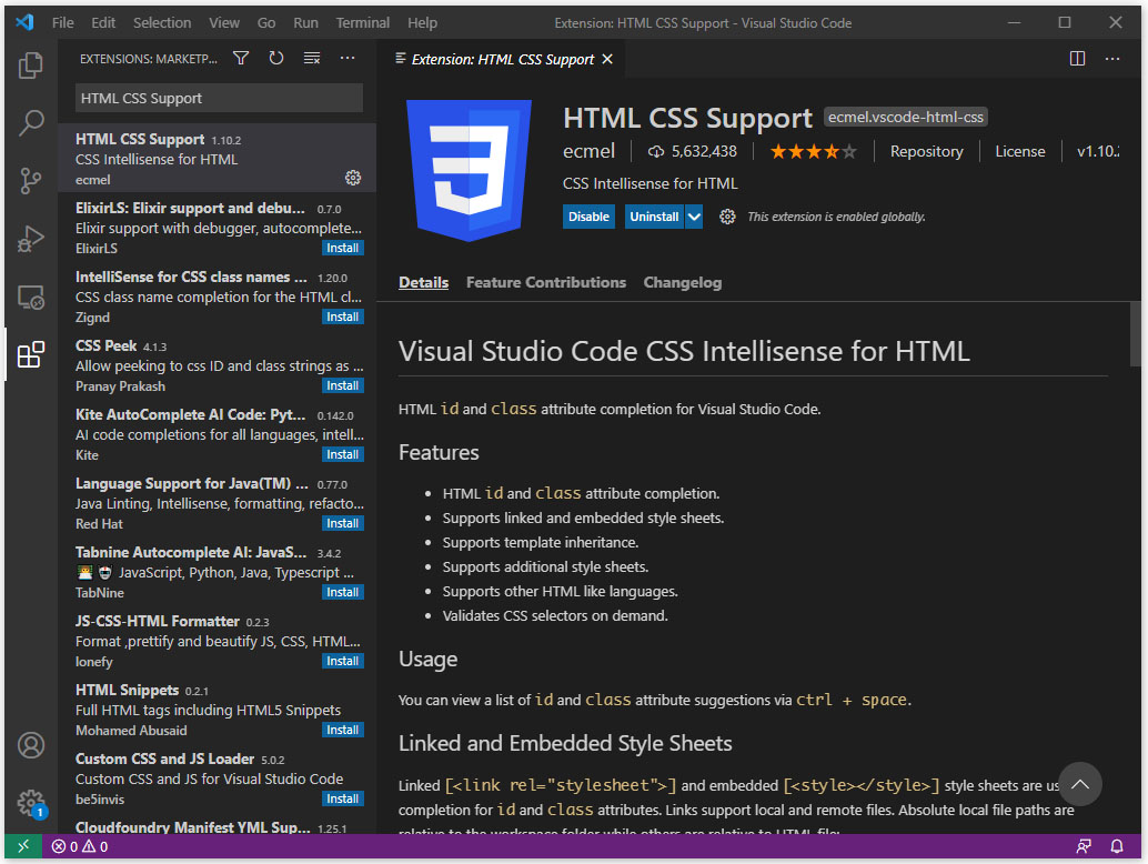 VS Code HTML CSS Support extension