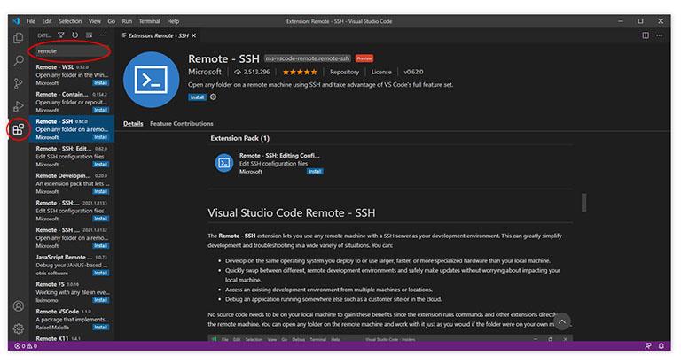 VS Code Remote - SSH extension screen