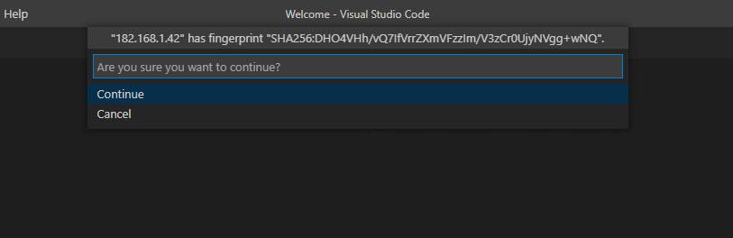VS Code Remote-SSH fingerprint