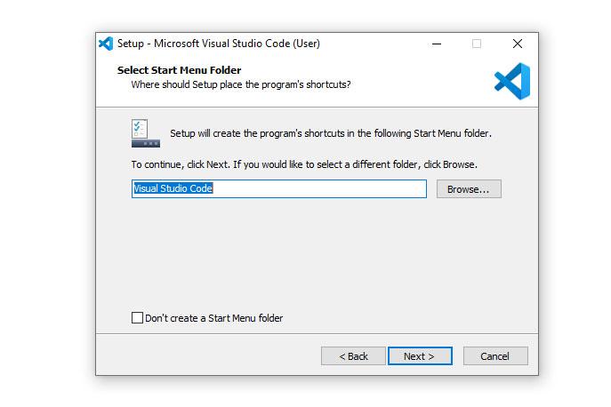 VS Code Start Menu folder