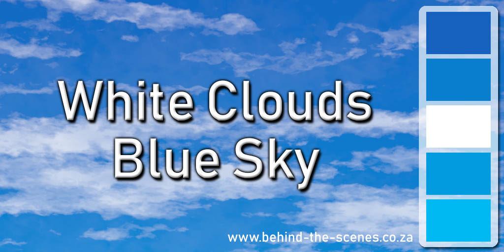 White clouds, blue sky colour scheme