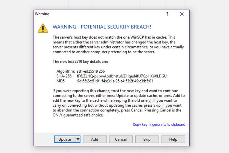 WinSCP security alert