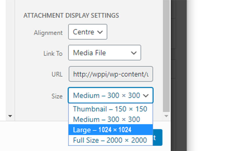 WordPress Attachment Display Settings