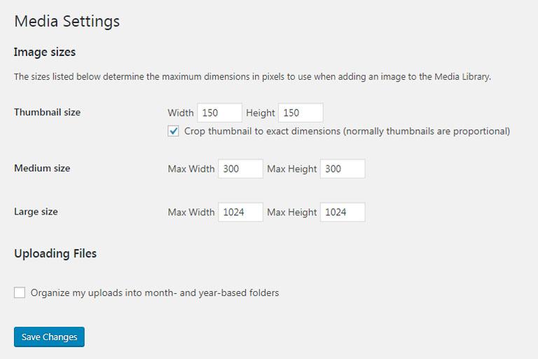 WordPress default media settings