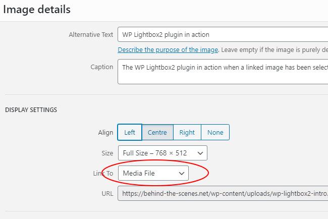 WP Lightbox 2 Media Link to settings